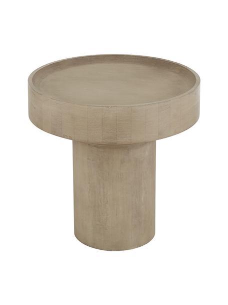Bijzettafel Benno van mangohout, Massief gelakt mangohout,  beton, Grijs gewassen mangohout, Ø 50 x H 50 cm