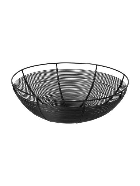 Broodmandje Nina in zwart, Metaal, gelakt, Zwart, Ø 30 x H 10 cm