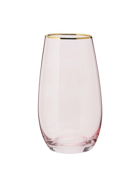 Hohe Wassergläser Chloe in Rosa mit Goldrand, 4er-Set, Glas, Pfirsich, Ø 9 x H 16 cm