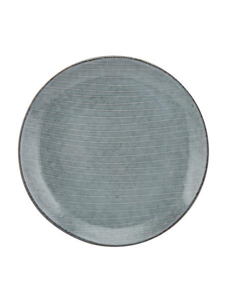 Ręcznie wykonany talerz śniadaniowy z kamionki Nordic Sea, 4 szt., Kamionka, Odcienie szarego, odcienie niebieskiego, Ø 20 x W 3 cm