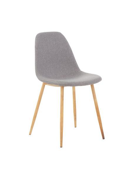 Gestoffeerde stoelen Wilma, 2 stuks, Poten: metaal met eiken decorati, Bekleding: polyester, Poten: eiken<br>Bekleding: lichtgrijs, 45 x 84 cm