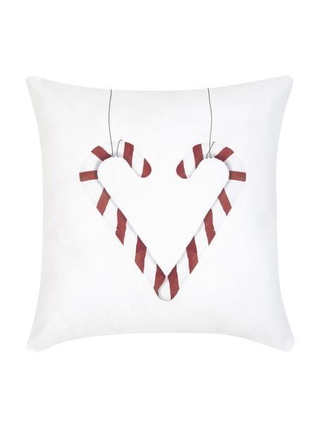 Federa arredo con cuore di bastoncini di zucchero Cupid, Cotone, Rosso, nero, bianco, Larg. 40 x Lung. 40 cm