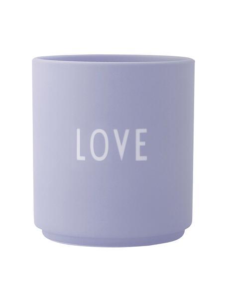 Taza de diseño Favourite LOVE, Porcelana fina Bone China, Lila, blanco, Ø 8 x Al 9 cm