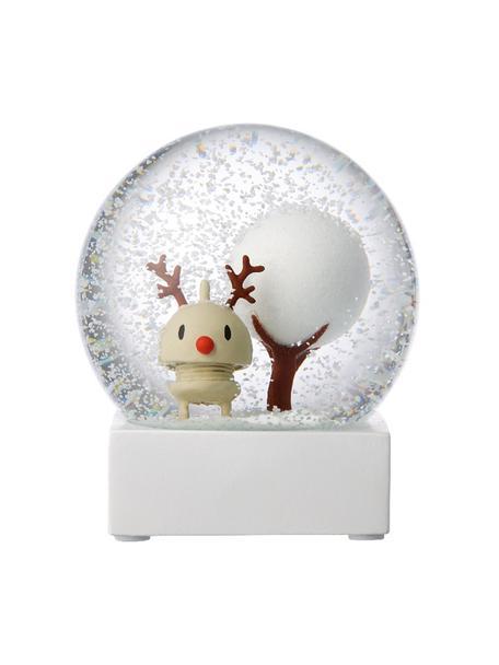 Palla di vetro con neve Rudolf, Bianco, trasparente, Ø 10 x A 12 cm