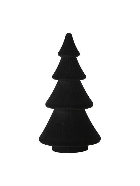 Pieza decorativa de terciopelo Sabina, Exterior: terciopelo, Interior: tablero de fibras de dens, Negro, Ø 15 x Al 30 cm