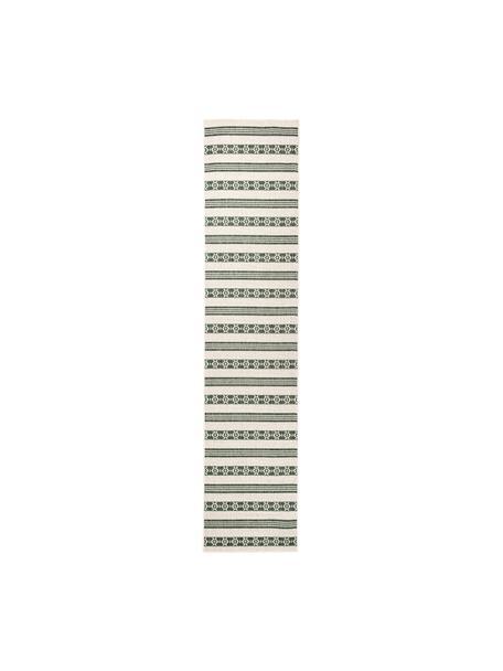 In- & Outdoor-Wendeläufer Fiji in Grün/Creme, 100% Polypropylen, Grün, Cremefarben, 80 x 350 cm