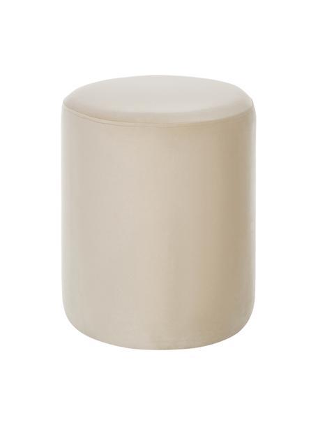 Pouf in velluto Daisy, Rivestimento: velluto (poliestere) 25.0, Struttura: fibra a media densità, Velluto beige, Ø 38 x Alt. 45 cm