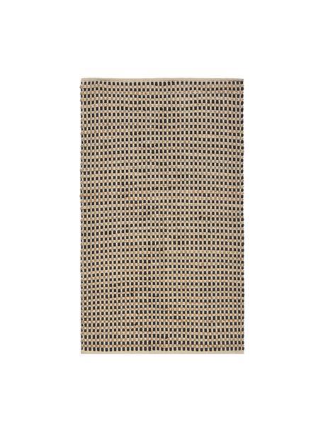 Tappeto in cotone/juta Fiesta, 55% cotone chindi, 45% juta, Nero, beige, Larg. 90 x Lung. 150 cm (taglia XS)