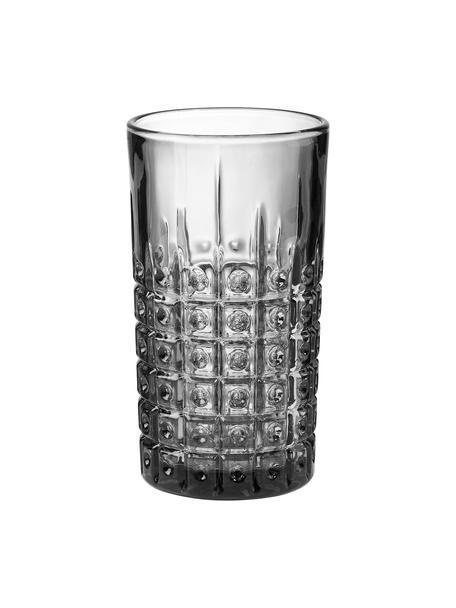 Bicchiere acqua con rilievo Mont Fleuri 4 pz, Vetro, Nero, Ø 8 x Alt. 13 cm