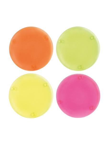 Set 4 sottobicchieri Neon, Acrilico, Giallo, verde, arancione, rosa, Ø 10 cm