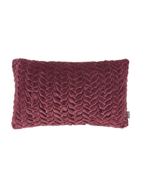 Samt-Kissen Smock in Weinrot mit geraffter Oberfläche, mit Inlett, Bezug: 100% Baumwollsamt, Rot, 30 x 50 cm