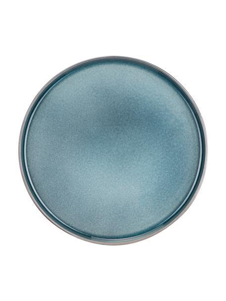 Ręcznie wykonany talerz duży z porcelany Quintana, 2 szt., Porcelana, Niebieski, brązowy, Ø 28 cm