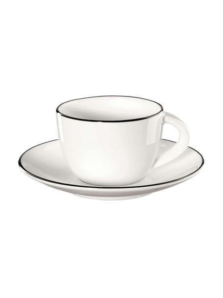Espresso kopjes met schoteltjes á table ligne noir met zwarte rand, 4 stuks, Beenderporselein (porselein) Fine Bone China is een zacht porselein, dat zich vooral onderscheidt door zijn briljante, doorschijnende glans., Wit. Rand: zwart, Ø 6 x H 5 cm