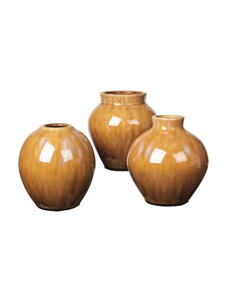 Komplet wazonów z ceramiki Ingrid, 3 elem., Ceramika, Odcienie brązowego, Ø 14 x W 14 cm