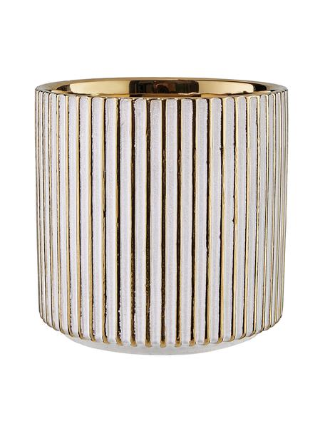 Portavaso in terracotta Goldie, Gres, Dorato, bianco, Ø 12 x Alt. 12 cm