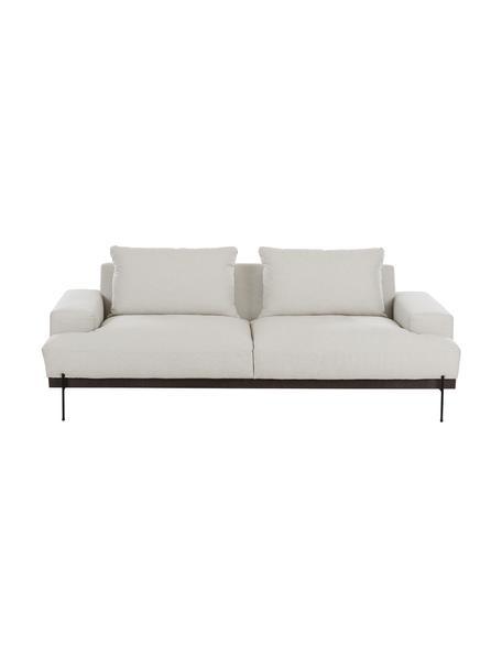 Bank Brooks (3-zits), Bekleding: polyester, Frame: gelakt grenenhout, Poten: gepoedercoat metaal, Beige, B 230 x D 98 cm