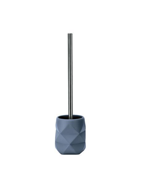 Escobilla de baño de poliresina Crackle, Recipiente: poliresina, Azul, Ø 11 x Al 39 cm