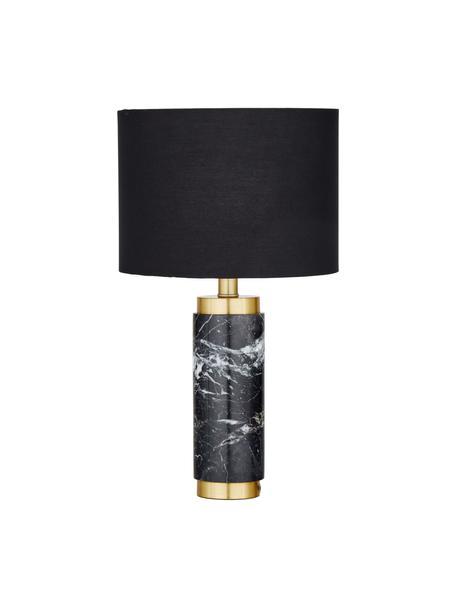 Glam-Tischlampe Miranda mit Marmorfuß, Lampenschirm: Textil, Lampenfuß: Marmor, Messing, gebürste, Weiß, Schwarzer Marmor, Ø 28 x H 48 cm