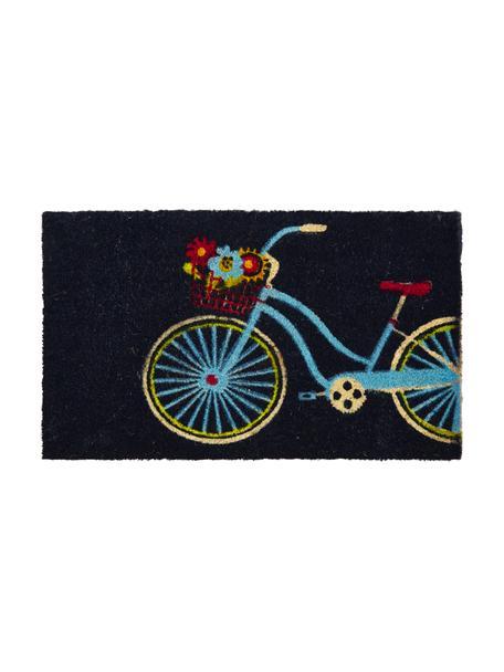 Felpudo Bicycle, Parte superior: fibras de coco, Reverso: plástico (PVC), Negro, multicolor, An 45 x L 75 cm