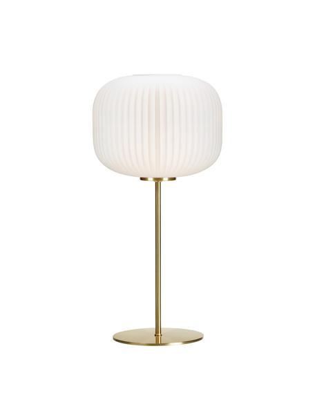 Tischleuchte Sober mit Glasschirm, Lampenschirm: Glas, Weiss, Gold, Ø 25 x H 50 cm