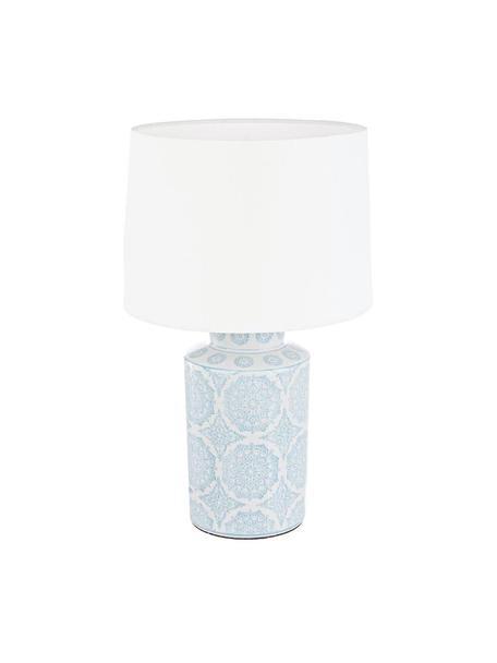 Lámpara de mesa Alambra, Pantalla: poliéster, Azul, blanco, Ø 16 x Al 51 cm
