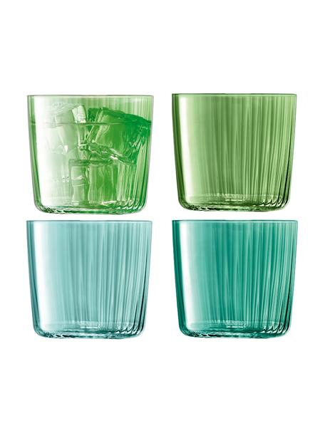 Vasos con relieve de vidrio soplados Gemas, 4uds., Vidrio soplado artesanalmente, Verde, Ø 8 x Al 7 cm