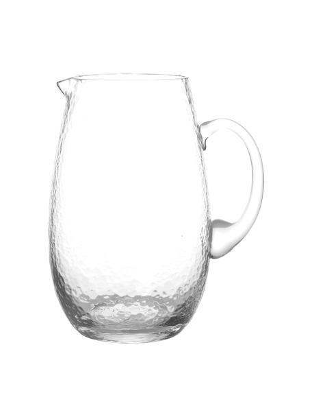 Großer mundgeblasener Krug Hammered mit gehämmerter Oberfläche, 2 L, Glas, mundgeblasen, Transparent, Ø 14 x H 22 cm