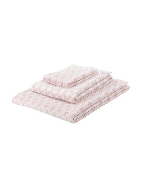 Komplet dwustronnych ręczników Ava, 3elem., Blady różowy, kremowobiały, Komplet z różnymi rozmiarami