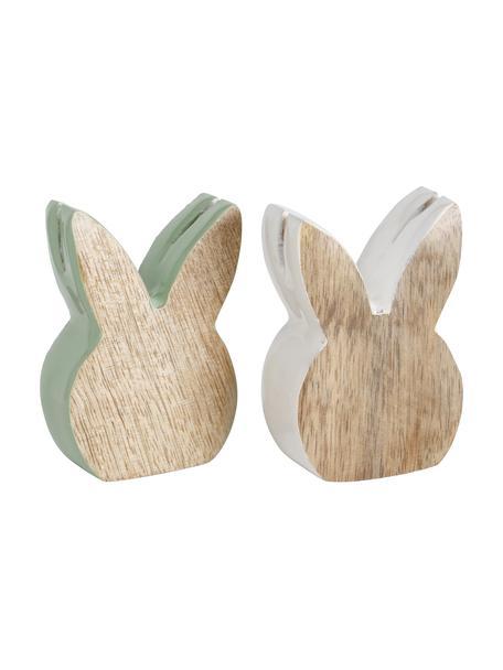 Deko-Objekte-Set Liloja, 2-tlg., Holz, beschichtet, Holz, Grün, Weiß, 5 x 7 cm