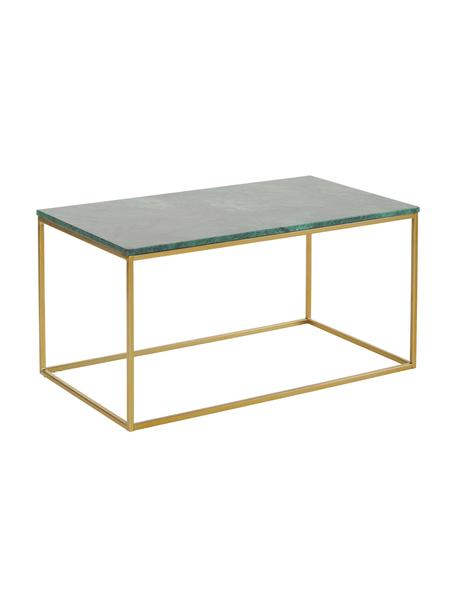 Marmor-Couchtisch Alys, Tischplatte: Marmor, Gestell: Metall, pulverbeschichtet, Tischplatte: Grüner MarmorGestell: Goldfarben, glänzend, 80 x 40 cm