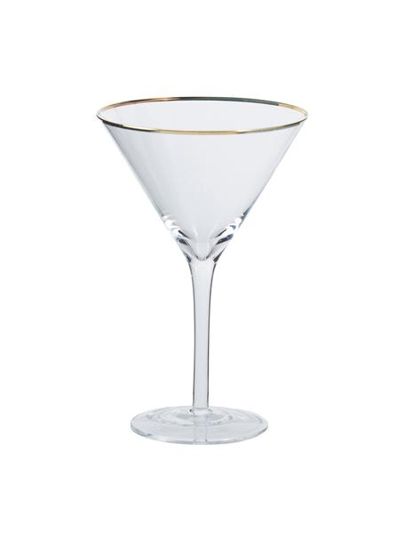 Martinigläser Chloe in Transparent mit Goldrand, 4er-Set, Glas, Transparent, Ø 12 x H 19 cm