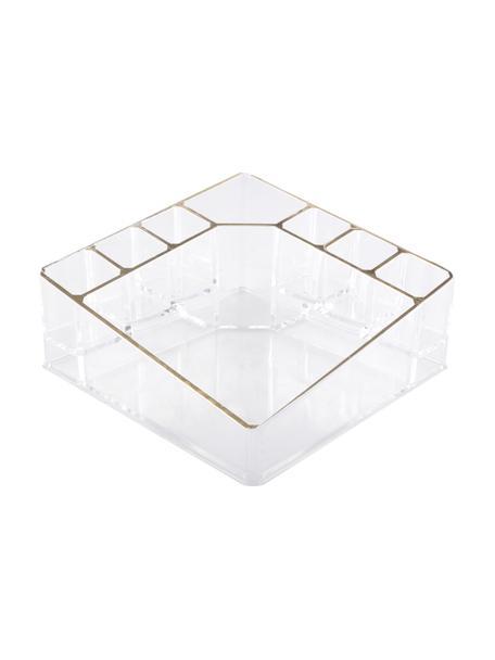 Porta trucchi Malla, Materiale sintetico, Trasparente, dorato, Larg. 14 x Alt. 7 cm