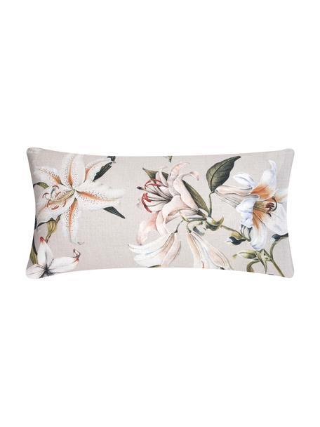 Poszewka na poduszkę z satyny bawełnianej Flori, 2 szt., Przód: beżowy, kremowobiały Tył: beżowy, S 40 x D 80 cm