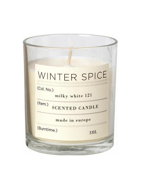 Geurkaars Winter (kaneel), Houder: glas, Houder: transparant. Geurkaars: wit, Ø 7 x H 8 cm
