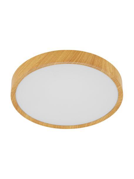 Plafoniera a LED effetto legno Musurita, Paralume: materiale sintetico, Baldacchino: metallo sventato, Marrone, Ø 34 x Alt. 6 cm
