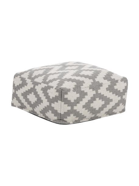 Handgewebtes In- und Outdoor-Bodenkissen Napua, Bezug: 100% recyceltes Polyester, Grau, Ecru, 63 x 30 cm