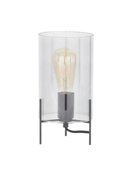 Mała lampa stołowa ze szkła Laurel, Klosz: szary, transparentny Podstawa lampy: czarny, matowy Kabel: transparentny, Ø 14 x W 28 cm