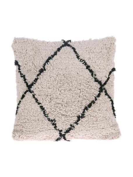 Kissen Diamond mit getufteter Oberfläche, mit Inlett, 100% Baumwolle, Gebrochenes Weiß, Schwarz, 50 x 50 cm