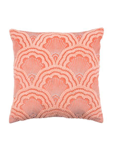 Bestickte Samt-Kissenhülle Chelsey mit Hoch-Tief-Muster, 100% Baumwollsamt, Koralle, 45 x 45 cm