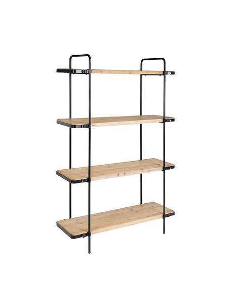 Libreria in legno e metallo Jerrod, Struttura: metallo epossidato e vern, Ripiani: pannello di fibra a media, Nero, marrone, Larg. 122 x Alt. 180 cm
