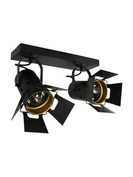 Industriële plafondspot Carre, verstelbaar, Gelakt metaal, Zwart, 58 x 37 cm