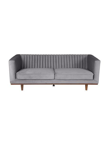 Sofa z aksamitu z drewnianymi nogami Dante (3-osobowa), Tapicerka: poliester Tkanina o odpor, Nogi: drewno kauczukowe, lakier, Aksamitny ciemny szary, S 210 x G 87 cm