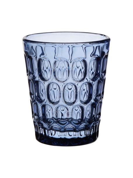 Vasos resistentes con relieve Optic, 6 uds., Vidrio, Transparente, azul, 250 ml