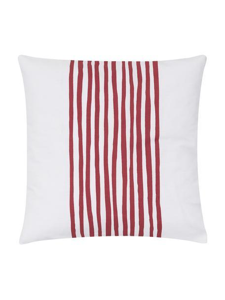 Kissenhülle Corey mit Streifen in Dunkelrot/Weiß, 100% Baumwolle, Weiß, Dunkelrot, 40 x 40 cm