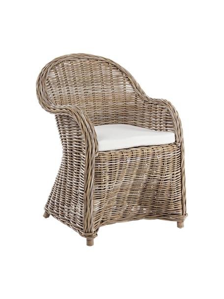 Sedia in rattan con cuscino Martin, Marrone, Larg. 60 x Alt. 89 cm