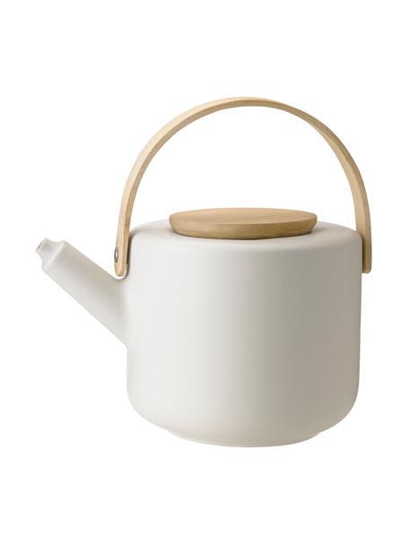 Teiera in bianco opaco Theo, Brocca: terracotta, Bianco latteo, bambù, 1.25 l