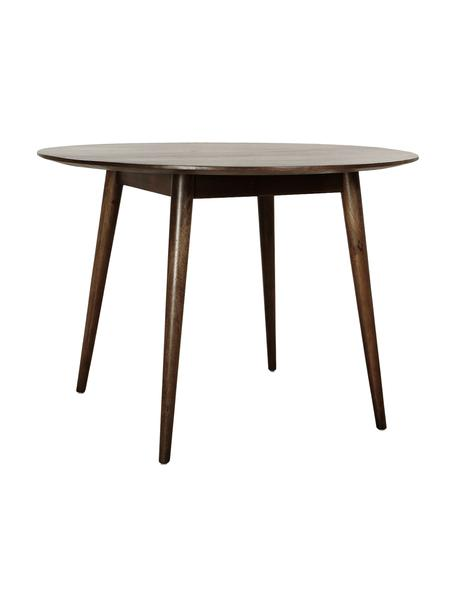 Mesa de comedor redonda de madera maciza Oscar, Madera de mango maciza pintada, Marrón oscuro, Ø 106 cm