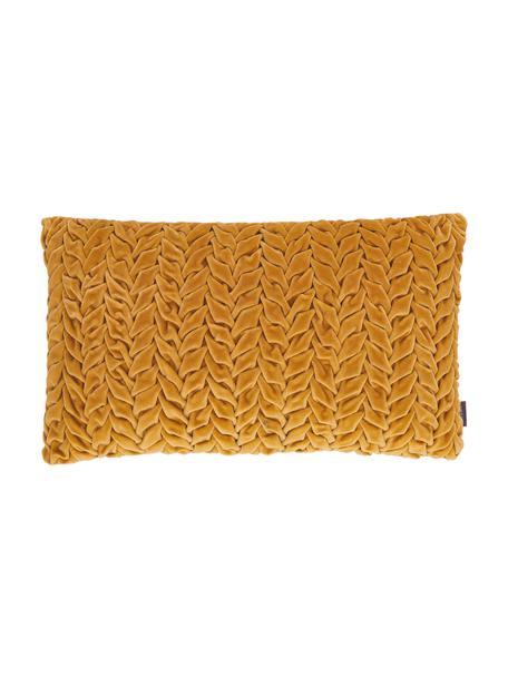 Cuscino in velluto con imbottitura Smock, Rivestimento: 100% velluto di cotone, Giallo senape, Larg. 30 x Lung. 50 cm