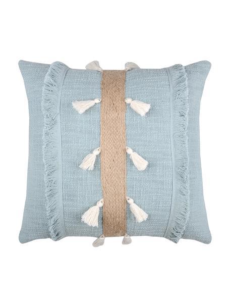 Cojín con yute Eivissa Stripe, con relleno, 100%algodón, Azul claro, beige, An 40 x L 40 cm