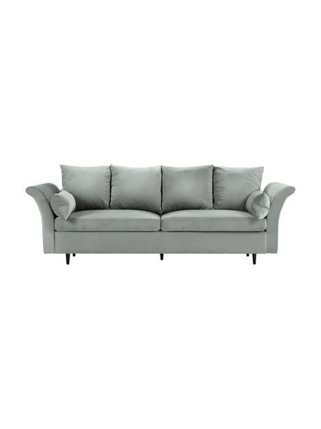 Sofa rozkładana z aksamitu z miejscem do przechowywania Lola (3-osobowa), Tapicerka: aksamit poliestrowy, Nogi: drewno sosnowe, lakierowa, Jasny szary, S 245 x G 95 cm